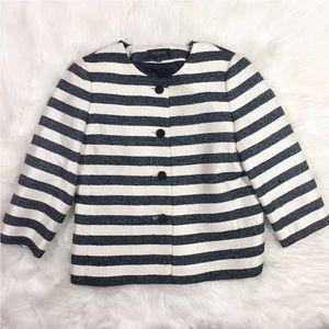 Talbots Blazer Black & White Striped Tweed